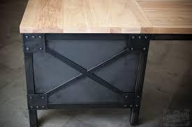 Handmade Office Furniture by Ash Wood U0026 Steel L Shaped Desk Custom Industrial Desk Wood