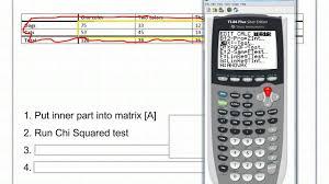 6 2 b chi squared test on ti 83 ti 84 youtube