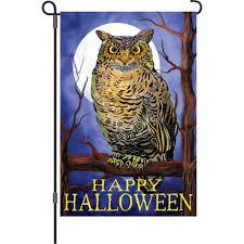 12 in halloween garden flag owl and moon happy halloween
