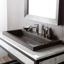bathroom trough stone bathroom sink with chrome faucet and marble