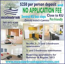 3 bedroom apartments lawrence ks no application fee meadowbrook apartments townhomes 2 and 3