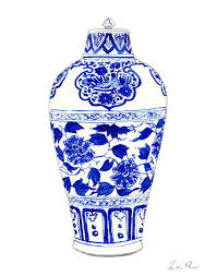 white ginger jar blue and white ginger jar chinoiserie jar 1 painting by laura row