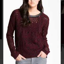 trouve sweater 77 trouve sweaters maroon open knit leather trim sweater