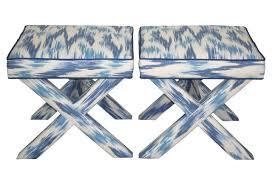 multi blue ikat x benches pair basement pinterest ikat and