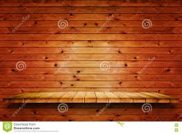 Old Wood Wall Empty Wooden Shelf On Old Wood Wall Background Stock Photo