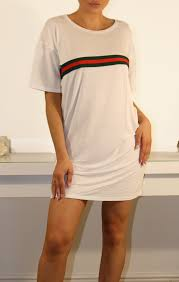 white stripe front t shirt dress