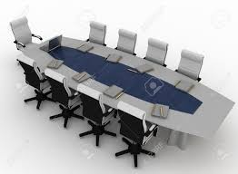furniture conference table with empty chairs for modern office