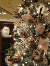 frosted forrest owl tree w silver gold white brown