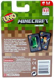 minecraft cards mattel uno minecraft card toys