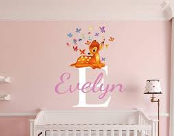nursery wall stickers with custom names by eydecals personalised bambi name wall decal