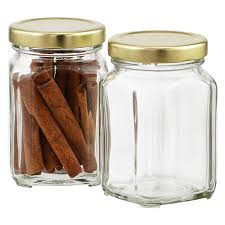 6 5 oz commercial square glass jar the container store