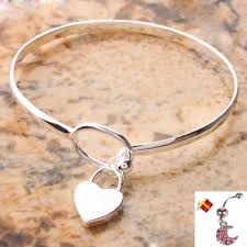 heart silver bangle bracelet images Charm peach heart 625 sterling silver bangle bracelet moon shape jpeg