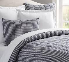 Navy Stripe Comforter Set Mini Stripe Comforter And Sham Pottery Barn
