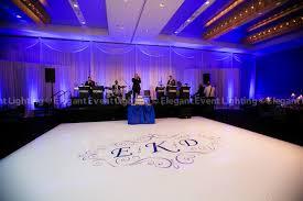 wedding backdrop monogram band backdrop purple room uplighting white floor with