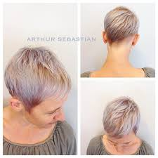 pixie grey hair styles pixie haircut with twist in the back in a gun metal platinum