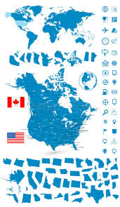 detailed map of usa and canada detailed map of usa and canada with world map navigation set stock