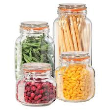 oggi kitchen canisters oggi 4 glass square cl canister set with silicone gaskets