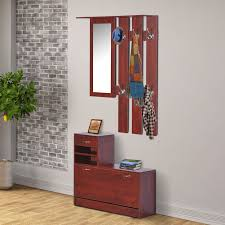 homcom shoe bench storage wardrobe coat hanger rack mirror
