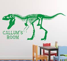 personalised dinosaur skeleton wall stickers dinosaur t rex skeleton boys wall art sticker personalised
