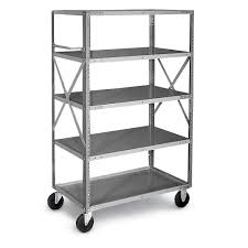 chic gray edsal shelving in five tier design with wheels made of