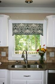 diy kitchen window treatments glossy dark concrete floor and