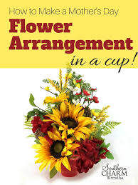 how to make flower arrangements to make a s day flower arrangement in a cup