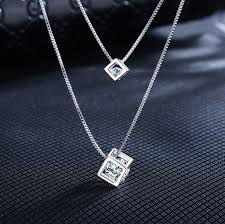 statement necklace sterling silver images Buy 925 sterling silver square cube rhinestones jpg