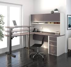 L Desk With Hutch by Desk With Hutch Including Electric Height Adjustable Table