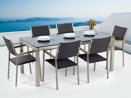 6 seater patio furniture set garden table and chairs dining set 6 seater black glass top