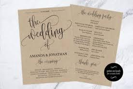 downloadable wedding programs wedding program printable printable wedding program wedding