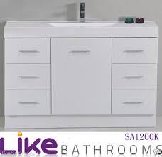 Slim Bathroom Cabinet 1200mm Polyurethane Slim Bathroom Vanity Unit Narrow Vanity