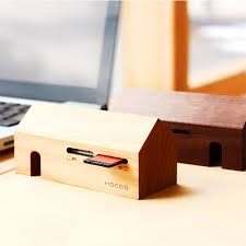 Wooden Desk Accessories Hacoa S Wooden Card Reader Is Funky Desk Décor 247style By The Store