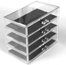 clear acrylic 4 drawer cosmetic organiser display stand for make