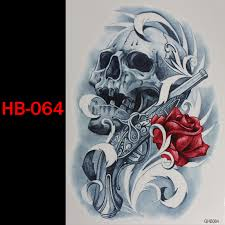 gun skull rose temporary tatto waterproof men women 3d tattoo arm