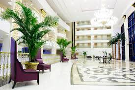 Luxury Lobby Design - modern luxury lobby interior in hotel in kemer an stock photo