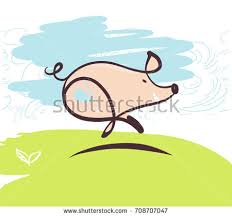 sketch image running pig element design stock vector 708707047