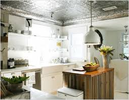 kitchen with white cabinets and tin ceiling tiles tin ceiling
