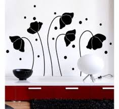 Snapdeal Home Decor Flower Sticker Fms Flowers And Romantic Butterfly Black Wall