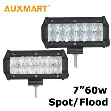 led security light bar auxmart 7 inch 5d 60w led light bar spot flood beam light offroad