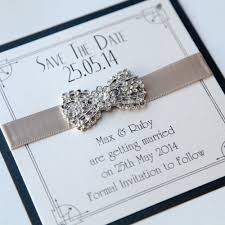 art deco bow save the date vintage wedding stationery scotland