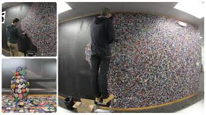 bottle cap table designs bottle cap wall 50 000 bottle caps on our wall in 2 minutes youtube