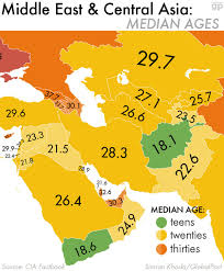 Asia And Middle East Map by Median Ages In The Middle East U0026 Central Asia 1200 X 1448 Mapporn