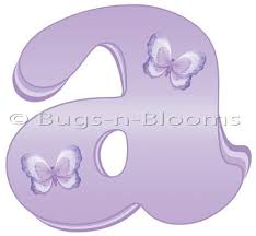 Purple Butterfly Decorations Bugs N Blooms Stickers Wall Letter