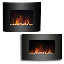 wall mounted electric fireplace black curved glass heater flame