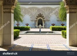 beautiful moroccan architecture inner garden putrajaya stock photo