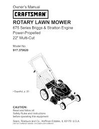 craftsman lawn mower 917 370620 user guide manualsonline com