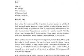 activity aide cover letter recommendation letter sample for