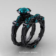 black wedding sets masters caravaggio 14k black gold 1 0 ct blue zircon
