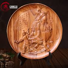 cherry wood mahogany disk hanging plate craft wood carving crafts