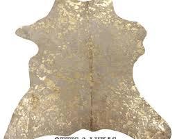 metallic cowhide rug etsy